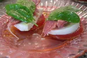 Tomato, Mozzarella, Prosciutto and Basil Stacks