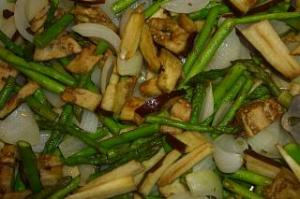 Baked Asparagus, Onions, and Eggplant