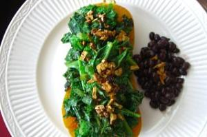 Butternut Squash with Garlic Kale and Black Beans