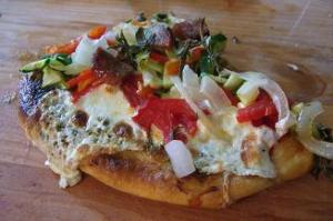 Grilled Sausage and Veggie Pizza Slice