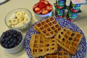Kodiak Waffles with Dannon Activia Strawberry Yogurt and Blueberries, Bananas, and Strawberries