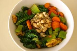 Carrots, Kale, Celery, Garlic, and Walnuts served with Lemon Herb White Beans