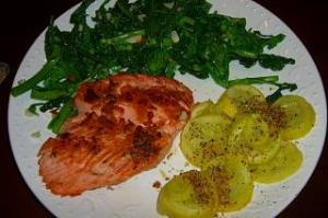 Wild Salmon, Broccoli Rapini, and Yellow Squash