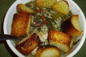 Chicken and Rice Soup with Greens and Beans with Homemade Croutons