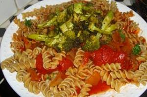 Whole Grain Pasta with Onion and Sausage Red Sauce and Broccoli