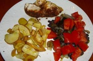 Spiced Chicken, Black Beans with Onions and Tomatoes, and Parsnips