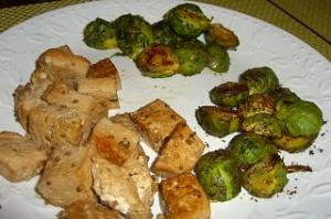 Honey Garlic Tofu and Brussels Sprouts (Tarragon and Cumin)