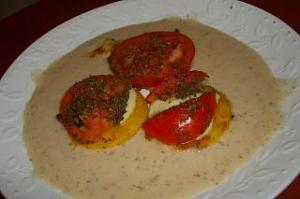 Polenta Cakes with Mozzarella, Tomatoes and Basil with a Creamy White Bean Sauce