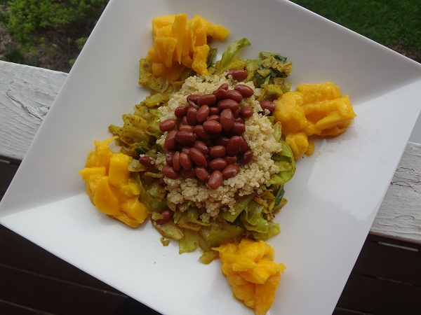 Curry Cumin Cabbage with Quinoa, Red Beans, and Mango