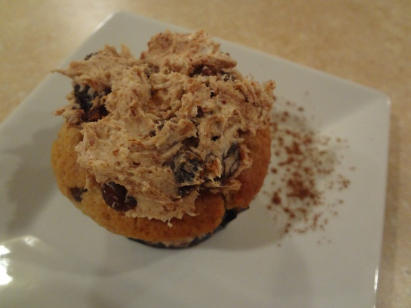 Date Sugar 'n' Spice Raisin Cream Cheese Spread on Chocolate Chip Pumpkin Cupcakes