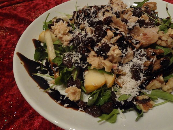 Balsamic Arugula Salad with Salmon, Pears, Walnuts, Raisins, and Shaved Coconut