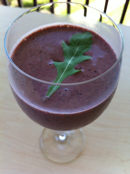 Berry Basil Kale Peanut Butter Kefir Smoothie
