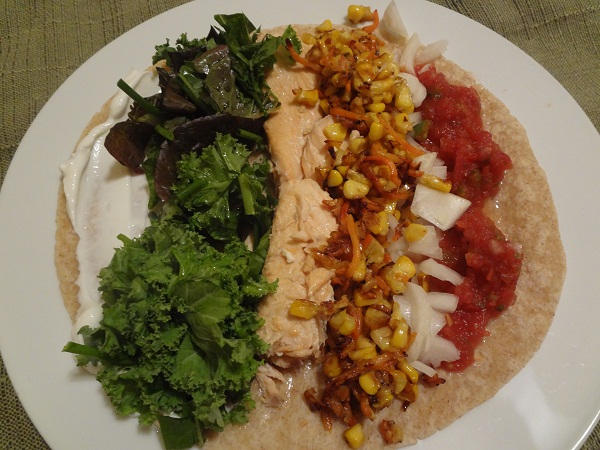Bourbon Salmon Tacos with Cheesy Skillet Corn and Great Greens