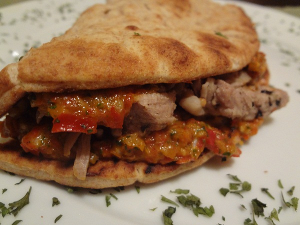 Pan-Fried Pork with Candied Bell Pepper 'n' Arugula Chimichurri on Flatbread