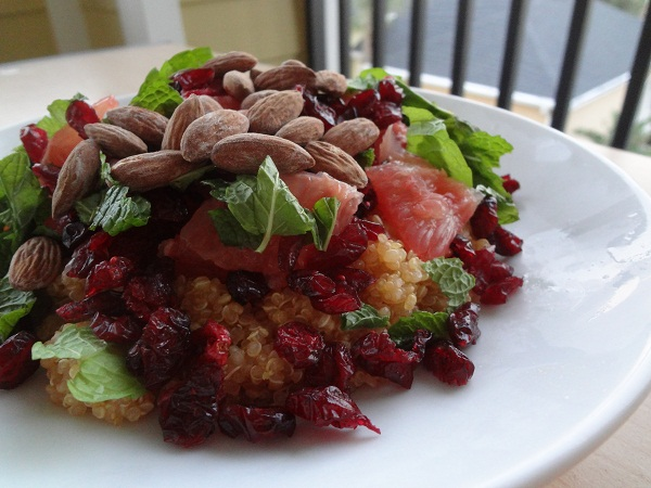 Honey Grapefruit Quinoa with Fresh Mint, Cranberries, and Almonds