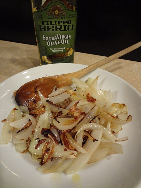 Sauteed onions and garlic made with extra virgin olive oil
