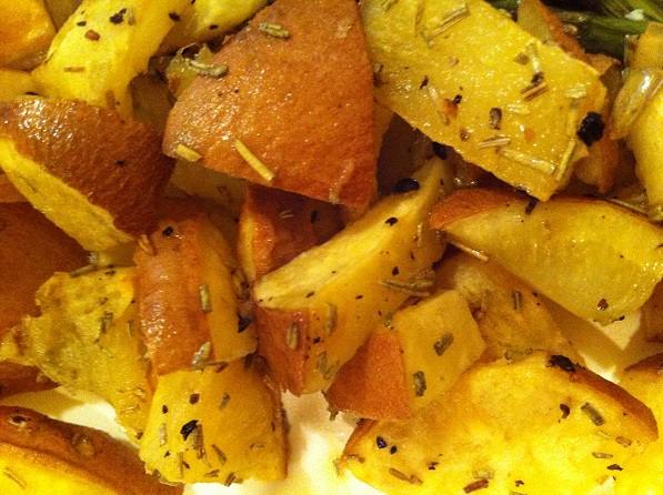 Roasted White Sweet Potatoes with Crushed Rosemary