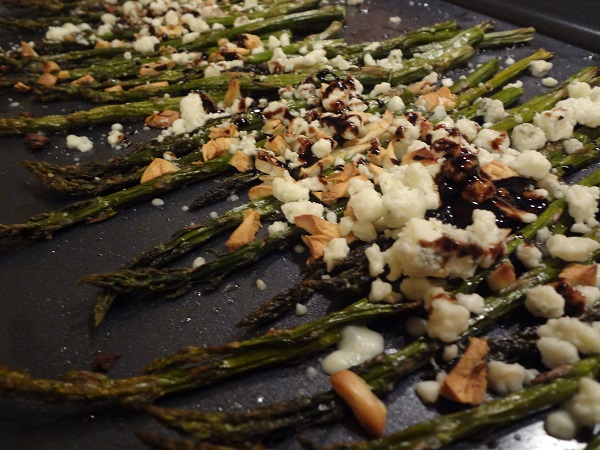 Balsamic-Glazed Roasted Asparagus with Blue Cheese Crumbles