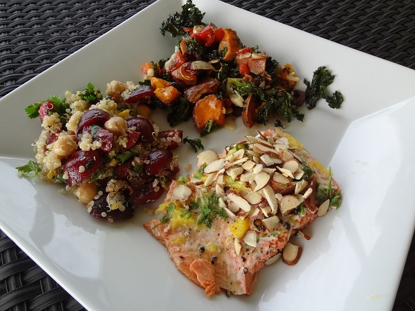 Almond Citrus Sockeye Salmon, Crispy Kalamata Kale with Balsamic Parmesan Sweet Potatoes, and Cilantro Citrus Quinoa with Fresh Cherries
