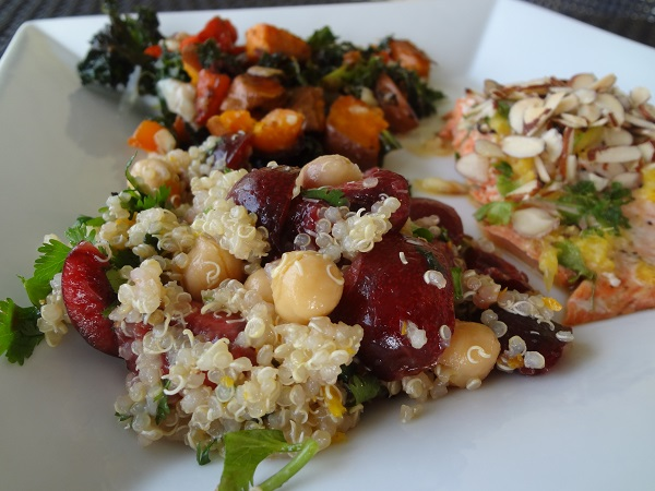 Cilantro Citrus Quinoa with Fresh Cherries