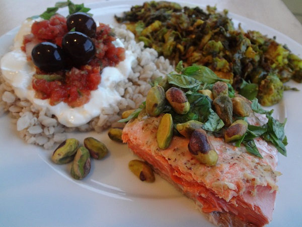 Pistachio Salmon, Shaved Curry Brussels Sprouts, and Barley with Greek Yogurt 'n' Salsa