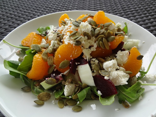 Mandarin Orange and Beet Salad with Goat Cheese