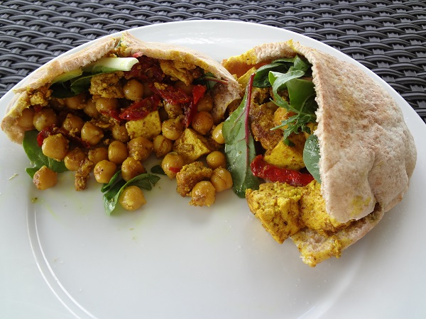 Curry Chickpeas 'n' Tofu Pitas