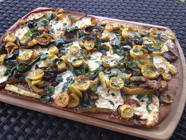 Sesame Whole Wheat Flatbread with Roasted Zucchini and Squash, Fresh Mozzarella and Garden Herbs