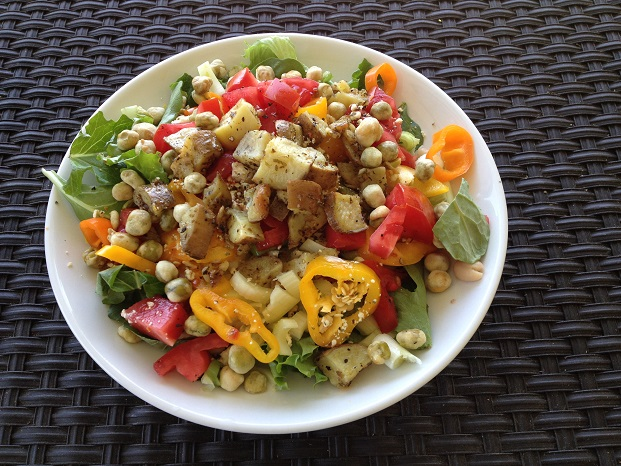 Signature Salad with Roasted White Sweet Potato and Spicy Wasabi Peas