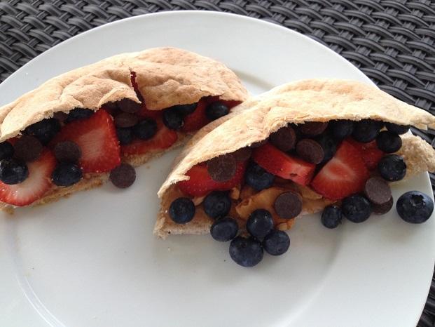 Crunchy PB & Fruit Fondue Pita Pockets