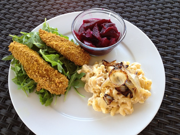 Curry Chicken Tenders, Mac & Cheese with Sauteed Onions, and Vinegar Beets