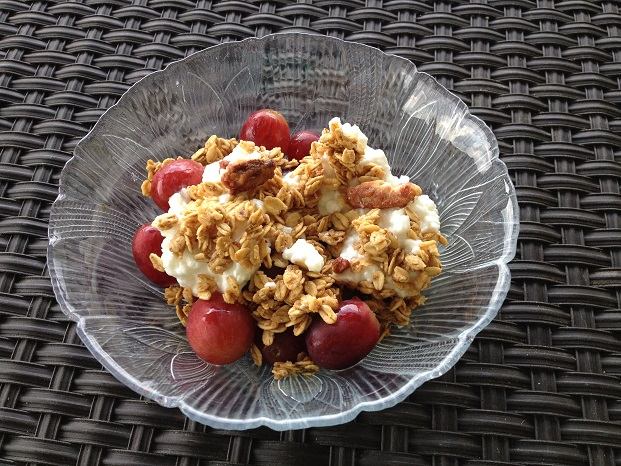 Granola and Grape Topped Cottage Cheese