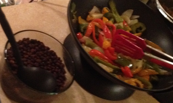 Fajita peppers and onions with black beans