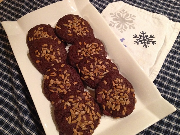 Chocolaty Chocolate Chip Cookies with Sunflower Seeds