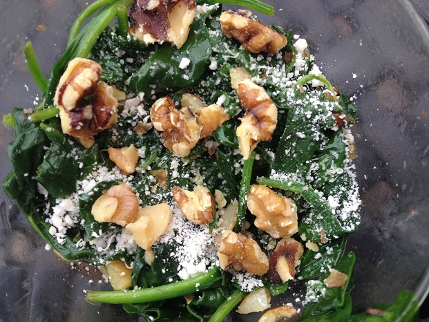 Garlic Spinach Saute with Parm and Walnuts