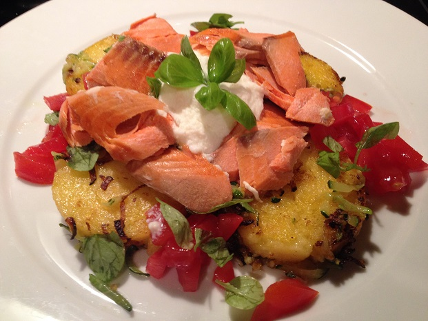 Pan-Fried Polenta Cakes with Salmon, Zucchini, Ricotta, Tomatoes, and Fresh Basil